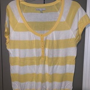 Yellow and white striped scoop neck